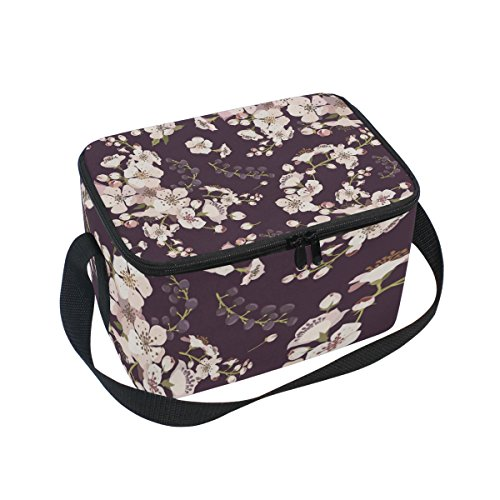 Insulated Lunch Bag Box Cooler Bag Reusable Tote Bag Peach Blossom Printed Outdoor Travel Picnic Bag With Shoulder (Blossom Everyday Tote)