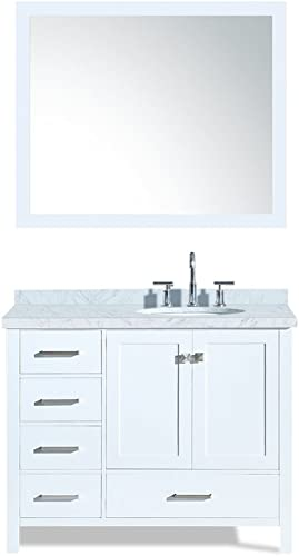 ARIEL Cambridge A043S-R-WHT 43″ Inch Single Right Offset Round Oval Sink Solid Wood White Bathroom Vanity Set