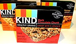KIND Healthy Grains Granola Bars, VARIETY PACK: DARK CHOCOLATE CHUNK, OATS & HONEY, PEANUT BUTTER DARK CHOCOLATE. 5 bars in each box. (3 PACK)