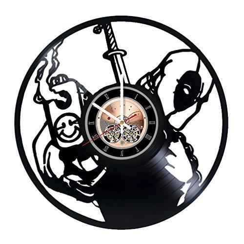 Deadpool Comics Vinyl Record Wall Clock - Living Room or Garage wall decor - Gift ideas for friends, teens, men, boys – Free Movies Unique Art Design