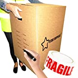 5 Extra Large Double Walled Removal Cardboard Boxes with Carry Handles 24' x 17' x 17' House Moving Packing Shipping Cartons with Room Tick List Fragile Tape & Marker Pen