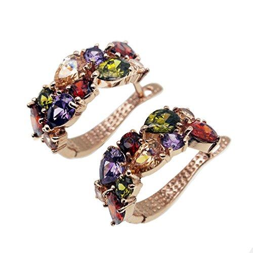 Vanessa Rose Gold Multi Gemstone Jewelry Sets for Women,Sparkling Garnet Amethyst Morganite Peridot Topaz (Clip On Earrings)
