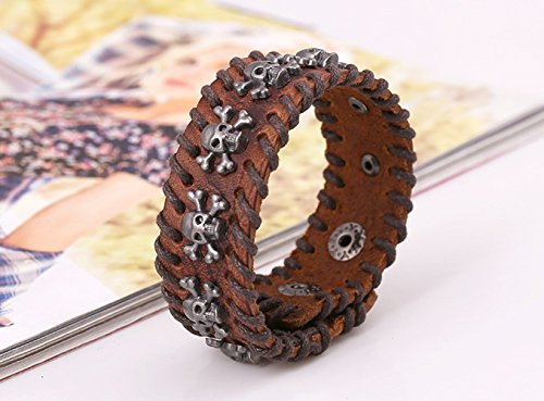 Multi Skull Heads Bones Punk Leather Unisex Fashion Wrap Style Bracelet Margin Weaving Handmade Brown (Pink Lucite Flower Bead)