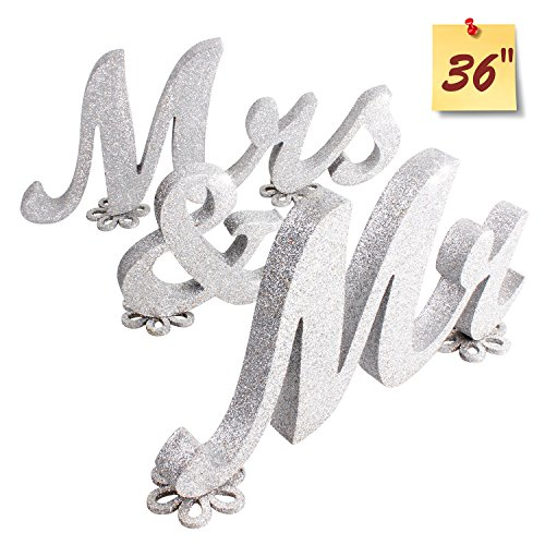 SROOD Mr and Mrs Sign Wedding decorations Mr & Mrs Sign Sweetheart Wedding Table Decorations Wooden letters Silver - Glitter Wooden