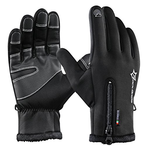 RockBros Warm Mens Winter Gloves Fleece Windproof Thermal Sports Gloves for Outdoor Cycling Driving Black