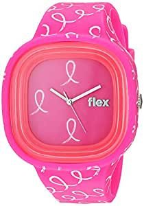 Flex Watches Quartz Plastic and Silicone Casual Watch, Color:Pink with Pattern (Model: Flex14)