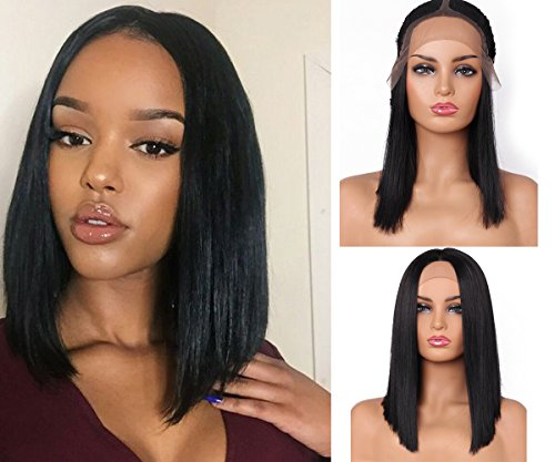 Glueless Lace Front Wig Natural Black Straight Synthetic Bob Wigs Heat Resistant Hair Deep Invisible with Natural Hairline For Women