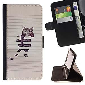 BullDog Case - FOR/Samsung Galaxy S4 IV I9500 / - / cat funny cute painting sketch pet kitten /- Monedero de cuero de la PU Llevar cubierta de la caja con el ID Credit Card Slots Flip funda de cuer