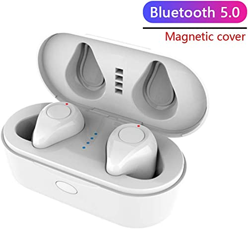 Wireless Earbuds TWS Stereo Headphones Bluetooth 5.0 Headset in-Ear Earphone One-Step Pairing with Button-Control Operation High Definition Mic Stereo Calls with Charging Case R White
