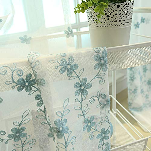 AiFish Pastoral Emberidered Sheer Curtains for Sliding Glass Door Floral Leaf Rod Pocket Country Style Window Treatment/Voile/Tulle/Panel/Drapes for Living Room/Dining Room 1 Panel W52 x L63 inch