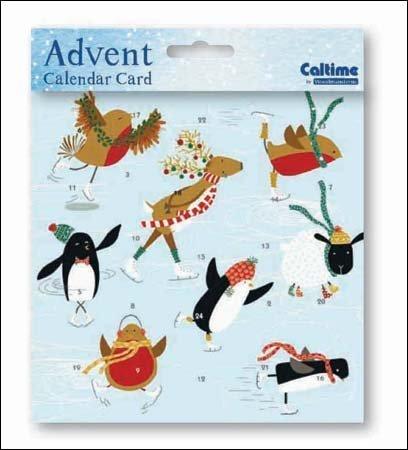 Mini Advent Calendar Card (WDM4409) Skating - Winter Animals Ice Skating Woodmansterne