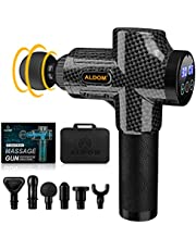 Massage Gun Deep Tissue Percussion Massager - Handheld Electric Muscle Massager Body Massager for Athlete Recovery and Muscle Soreness - Super Quiet Brushless Motor, 30 Speed Level, 6 Massage Heads, Long Battery Life, ALDOM Carbon Black
