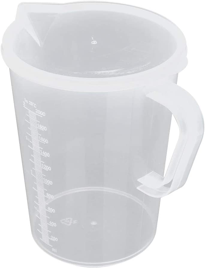 CHICTRY Plastic Pour Measuring Cup Graduated Water Pitcher Jug with Lid and Handle for Cold Water Ice Tea Juice Beer Milk Flour Oil Kitchen Accessories with Lid 2000ml