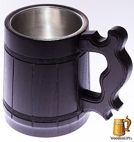 WoodenGifts Wooden Beer Mug (20oz): Handmade Oak Wood Tankard, Renaissance Drinking Cup WithBrown Barrel Design, Viking Stein For Themed Parties And Festivals –With Stainless Steel Interior Cup by WoodenGifts