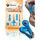 #1 Safety Baby Nail Clippers Set with Scissors and File - Complete Grooming Kit for Any Child Age, Newborn or Infant - Perfect Shower Gift - Blue Color - Premium Quality