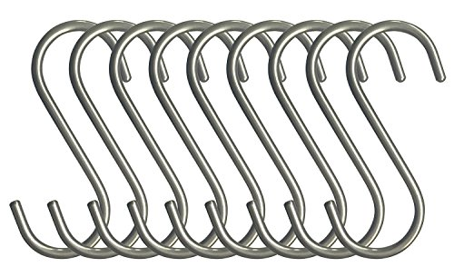 - RuiLing 10-Pack S Shaped Hooks Heavy-Duty Genuine Solid Polished Stainless Steel Hanging Hooks,Kitchen Spoon Pot Hanging Hooks Hangers Clothes Storage Rack Multiple uses - Size Large