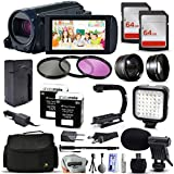 Canon VIXIA HF R62 HD Video Camcorder with 2x 64GB SD Card, 72 Monopod, X-GRIP Action Stabilizing Handle, VL-5 LED Video Light, 2.2x Telephoto Lens, 10pcs Cleaning Kit and Accessory Bundle