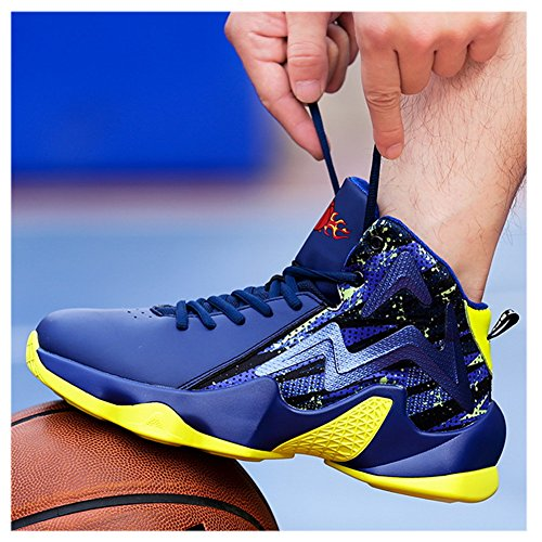 Scurtain Shoes Sports Performance Blue PU High Mens Fashion Basketball Top Sneakers r1Aw6rq