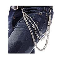 StillCool Porte-clés Métal Pour Hommes Pantalon Portefeuille Porte-clés Porte-clés Avec Agrafe De Ceinture, Silver