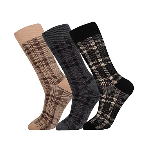 JOYNÉE Men's 3 Pack Classic Elite Patterned Cotton Crew Dress Socks