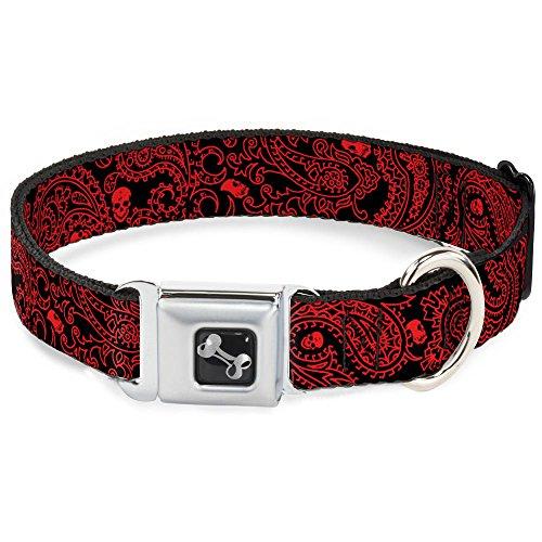 Buckle-Down Bandana/Skulls Black/Red Dog Collar Bone, Wid...