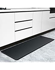 """Color&Geometry Soft Kitchen Rug, Durable Entrance Rug, Low Elastic Floor Mat with Non-Slip Rubber Back, Absorbent and Washable (Black,17""""x59"""")"""