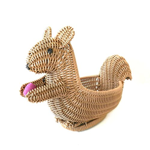 CVHOMEDECO. Squirrel Shape Imitation Rattan Bread Basket Fruit Display Basket Dessert Basket Resin Wicker Household Living Room Snacks Candy Plate. Light Brown. 12