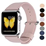 JSGJMY Compatible Iwatch Band 38mm 40mm Women Genuine Leather Replacement Strap Compatible Iwatch Series 4 3 2 1 Sport Edition(38mm S/M,Sky Blue with Stainless Steel Clasp)