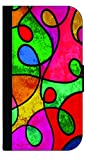 Abstract Swirled Stained Glass Print Design TM Wallet Case with Closing Flip Cover and Credit Card Slots for the Samsung Galaxy s3 i9300