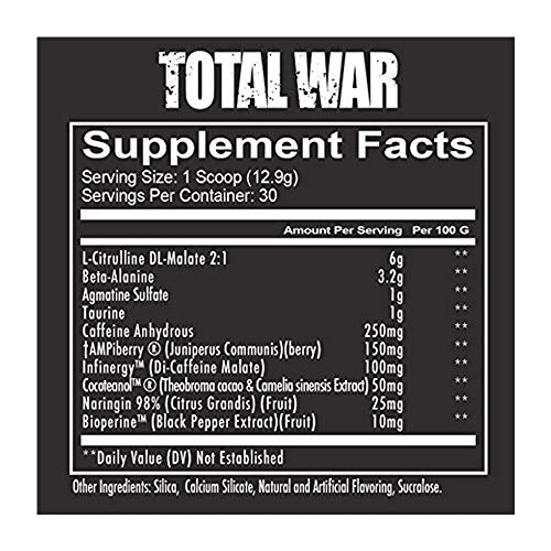 RedCon1 Total War (Newly Formulated) | Pre Workout Energy Powder, Caffeine, Citrulline Malate, Beta-Alanine, Agmatine, Taurine, Caffeine, Nitric Oxide | 30 Serving (Fruit Punch) by RedCon1 (Image #1)