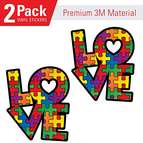Love Autism Awareness L O V E with Heart (2 Pack) - Laminated Vinyl Sticker Decal (2) -