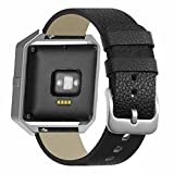 for Fitbit Blaze Band Smartwatch Full Grain Cow Leather Strap Genuine Leather Replacement Wristband Black