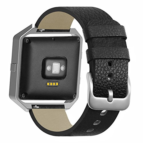 for Fitbit Blaze Band Smartwatch Full Grain Cow Leather Strap Genuine Leather Replacement Wristband Black by BONSTRAP