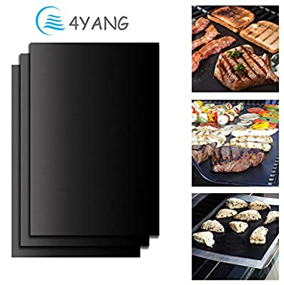 BBQ Grill Mat Set of 3- 4YANG Grilling Mats 100% Nonstick Barbeque Grill & Baking Sheets - FDA-Approved, PFOA Free, Reusable and Easy to Clean - Works on Gas, Charcoal, Electric Grill and More from 4YANG