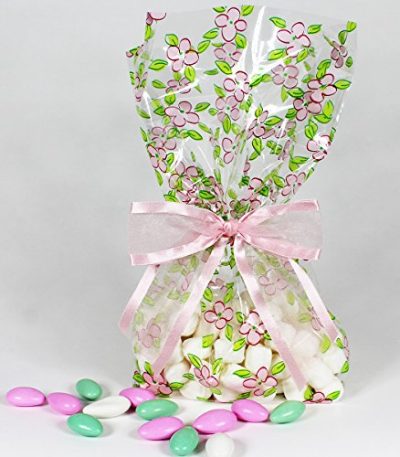 Floral Cellophane Twist Tie Organza Gusseted
