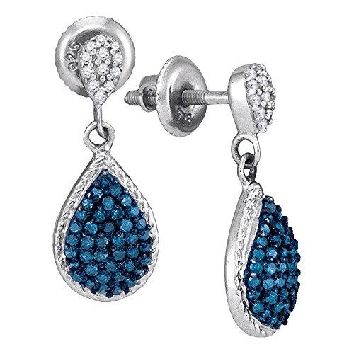 Blue Diamond Teardrop Dangle Earrings 10k White Gold Drop Hanging Style Fashion Polished Fancy 1/2 Cttw ()