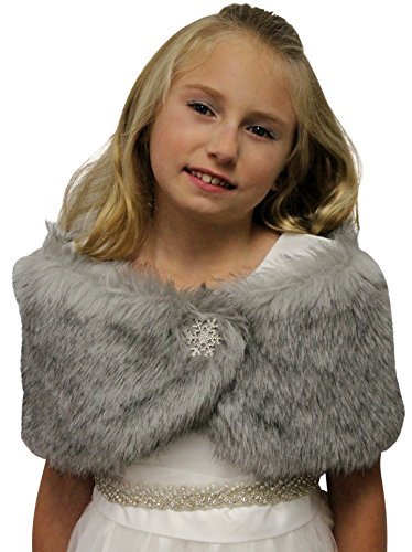 Faux Fur Wedding Wrap Flower Girl Grey Chinchilla Size Small