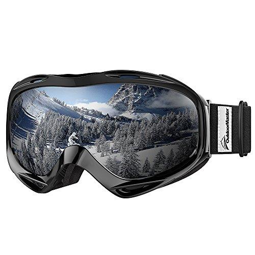 OutdoorMaster OTG Ski Goggles - Over Glasses Ski/Snowboard Goggles for Men, Women & Youth - 100% UV Protection (White Frame + VLT 10.2% Grey Lens)