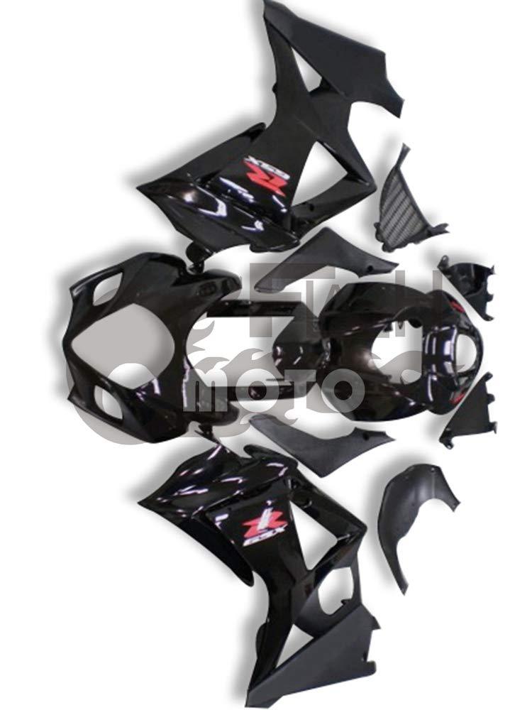 FlashMoto suzuki 鈴木 スズキ K7 GSXR1000 2007 2008用フェアリング 塗装済 オートバイ用射出成型ABS樹脂ボディワークのフェアリングキットセット ブラック   B07MD5P1D8