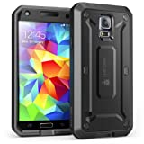 Galaxy S5 Case, SUPCASE [Heavy Duty] [Unicorn Beetle Pro Series] Full-body Rugged Case with Built-In Screen Protector for Samsung Galaxy S5 Case, Dual Layer Design Impact Resistant Bumper (Black/Black)