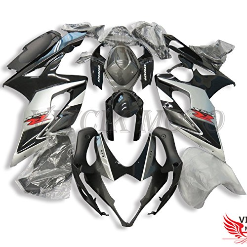 VITCIK (Fairing Kits Fit for Suzuki GSXR1000 K5 2005 2006 GSXR 1000 GSX R1000 K5 05 06) Plastic ABS Injection Mold Complete Motorcycle Body Aftermarket Bodywork Frame (Black & Silver) A083