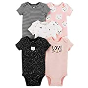 Carter's Baby Girls 5 Pack Bodysuit Set, Kitty Love, 6 Months