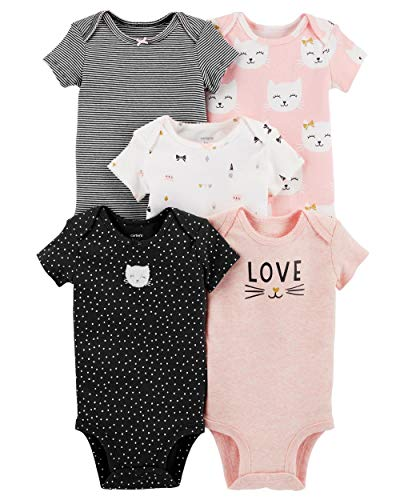 Carter's Baby Girls 5 Pack Bodysuit Set, Kitty Love, 12 Months