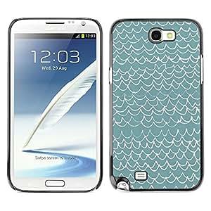 TopCaseStore / la caja del caucho duro de la cubierta de protección de la piel - Waves Pattern Art Blue White Modern - Samsung Galaxy Note 2 N7100