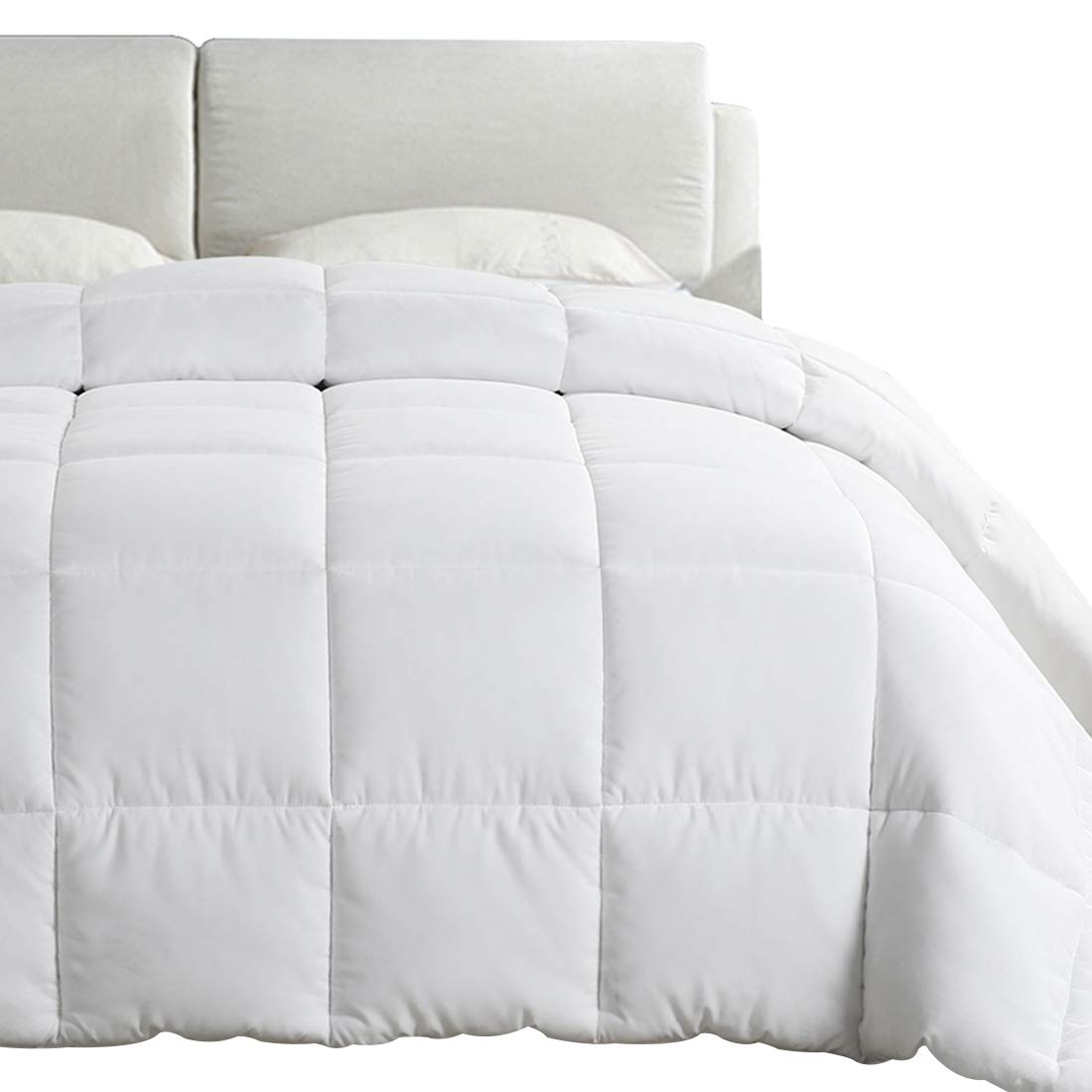 EMONIA Full/Queen Size Comforter for Summer,White Quilted Down Alternative Duvet Insert-Hotel Collection Reversible Hypoallergenic Light and Machine Washable