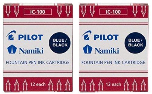 Pilot Namiki IC100 Fountain Pen Ink Cartridge, Blue/Black, 12 Cartridges per Pack (Pack os 2) - Pilot Fountain Pen Ink Cartridge
