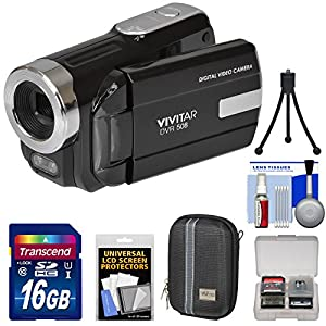 Vivitar DVR-508 HD Digital Video Camera Camcorder with 16GB Card + Case + Tripod + Kit