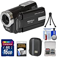 Vivitar DVR-508 HD Digital Video Camera Camcorder (Black) with 16GB Card + Case + Tripod + Kit