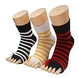 Toe Separator Women Foot Alignment Socks Yoga GYM Massage Toeless Relieve Pain 3 Pack