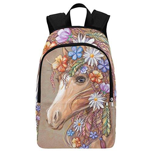 InterestPrint Custom Cute Horse Flower Floral Casual Backpack School Bag Travel Daypack Gift